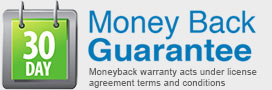 30 days moneyback guaranted by terms of license agreement